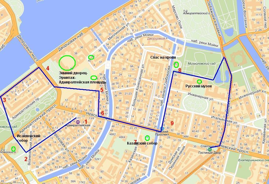 план для туриста в Петербурга