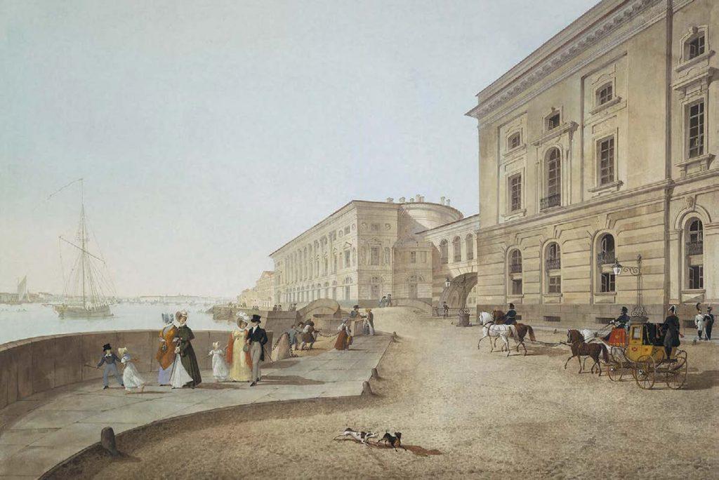 Дворцовая набережная у Эрмитажного театра. Карл Петрович Беггров. 1824
