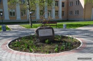 Памятный знак в честь присвоения Петродворцу (Петергофу) статуса наукограда в Петербурге на Санкт-Петербургском пр.